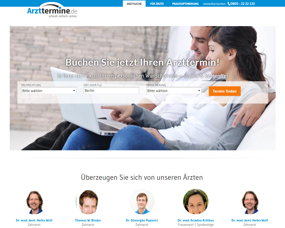 Screenshot der Website von Arzttermine.de