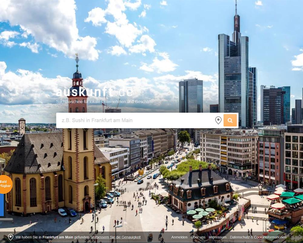 Screenshot der Website von auskunft.de