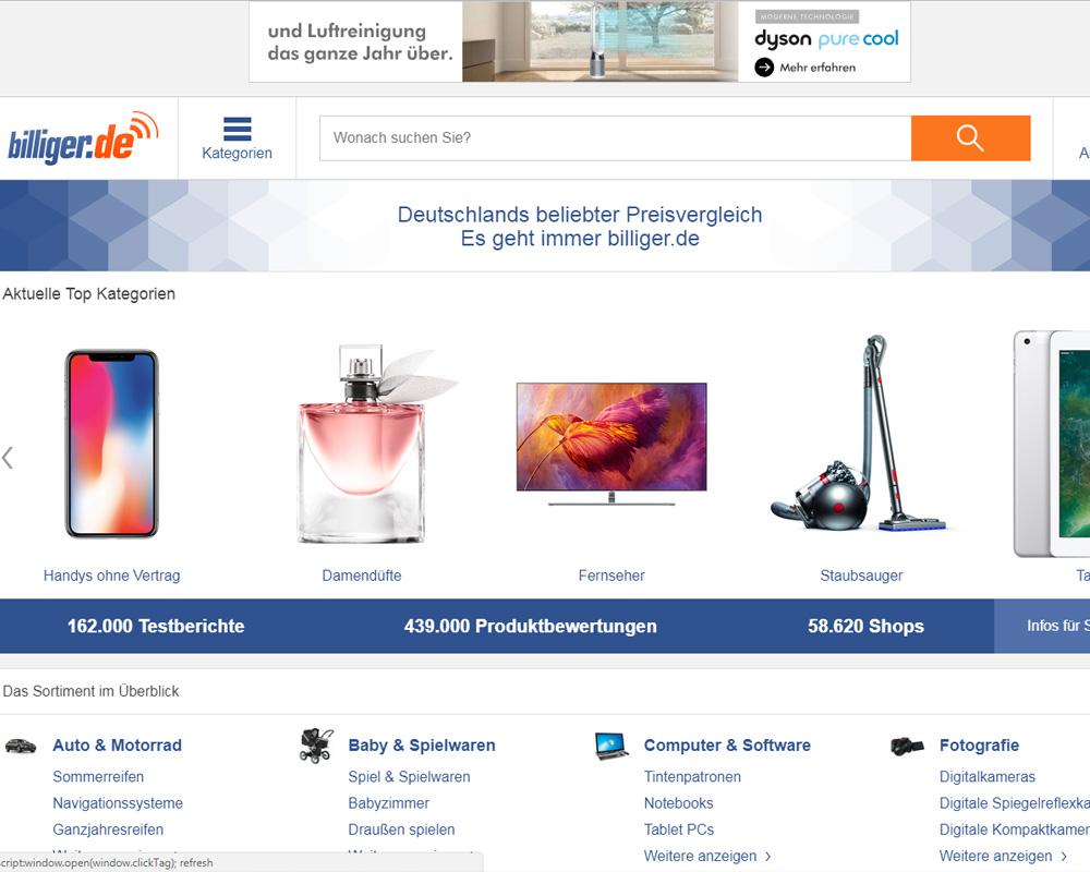 Screenshot der Website von billiger.de