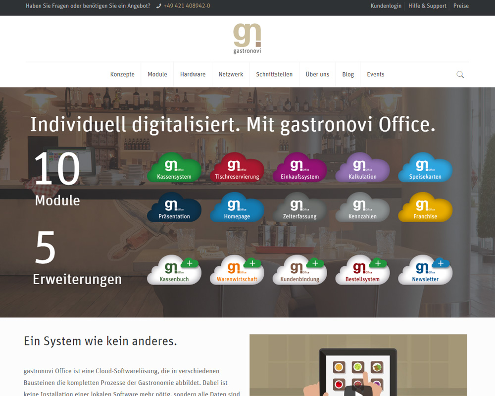 Screenshot der Website von gastronovi