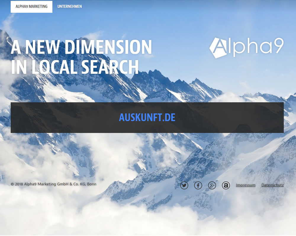 Screenshot der Website von Alpha9 Marketing